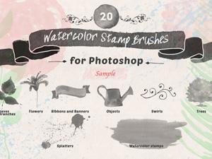 Watercolor Stamp Brushes Sample