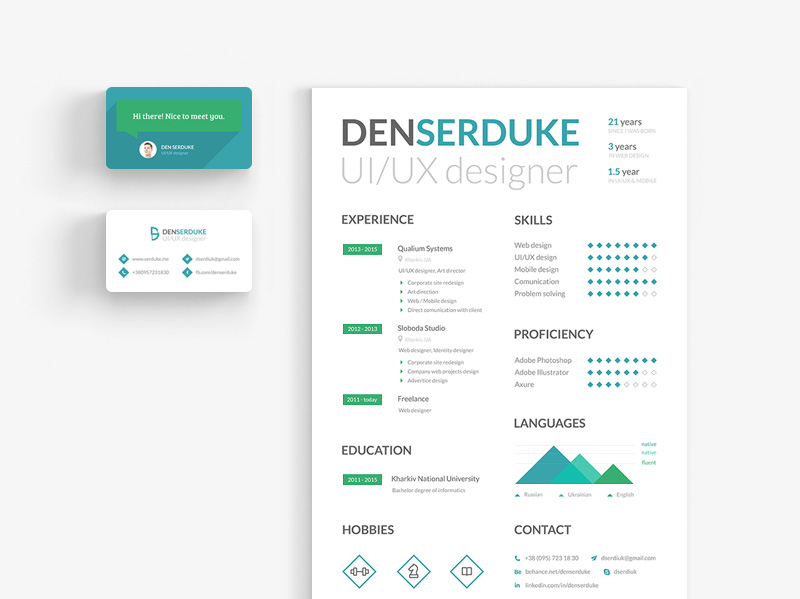 Resume & Business Card Freebie - Download Photoshop Resource - PSD Repo