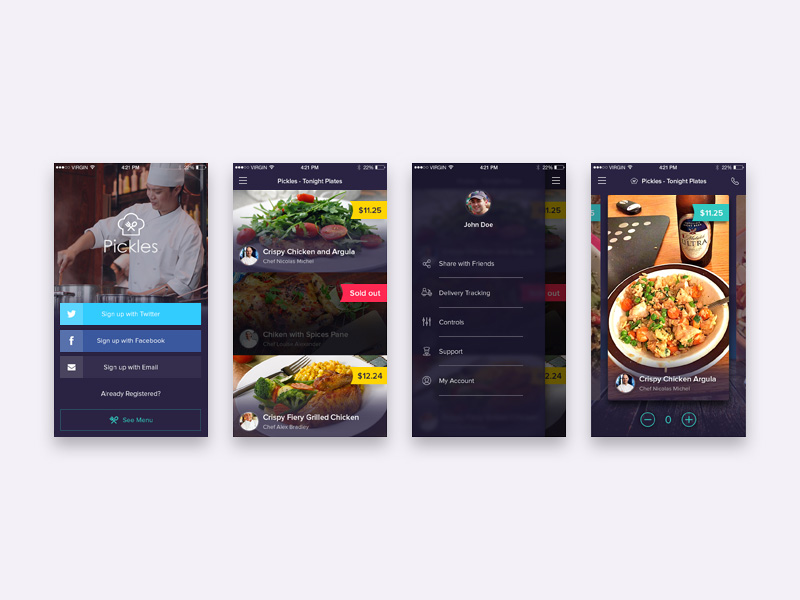 Restaurant app freebie download photoshop resource psd