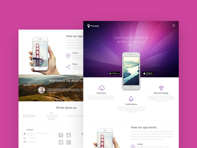 mobile landing page free psd template psd repo