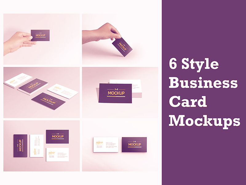 6 Style Business Card Mockups Freebie - Download Photoshop Resource ...
