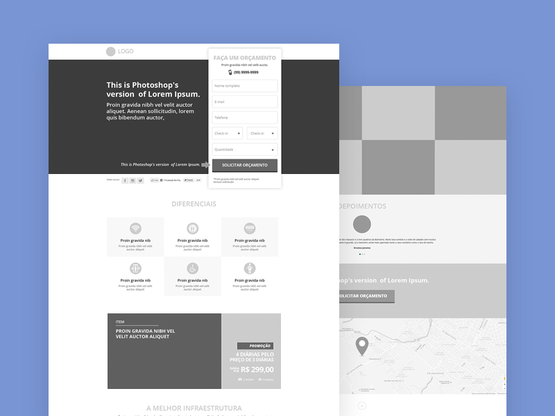 Wireframe-Style Landing Page
