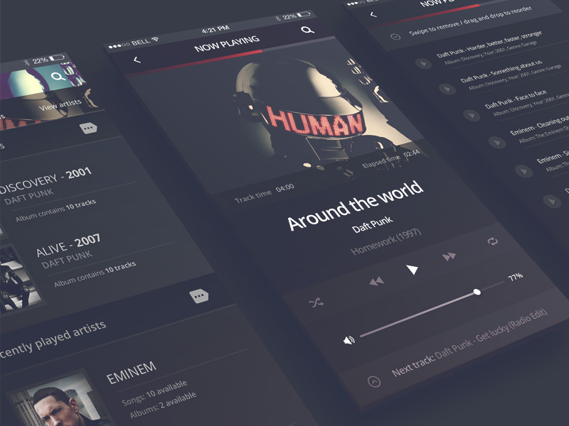 Philomela Iphone 6 Music Player Free Psd Template Psd Repo