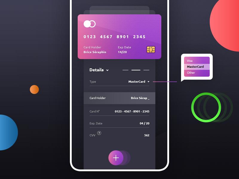 add credit card app psd - Card Holder App