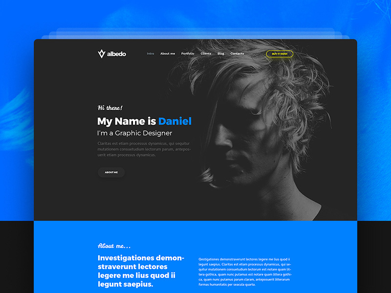 one page personal website template
