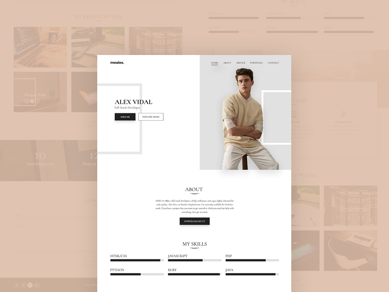 alex personal portfolio resume template freebie download photoshop resource psd repo. Black Bedroom Furniture Sets. Home Design Ideas