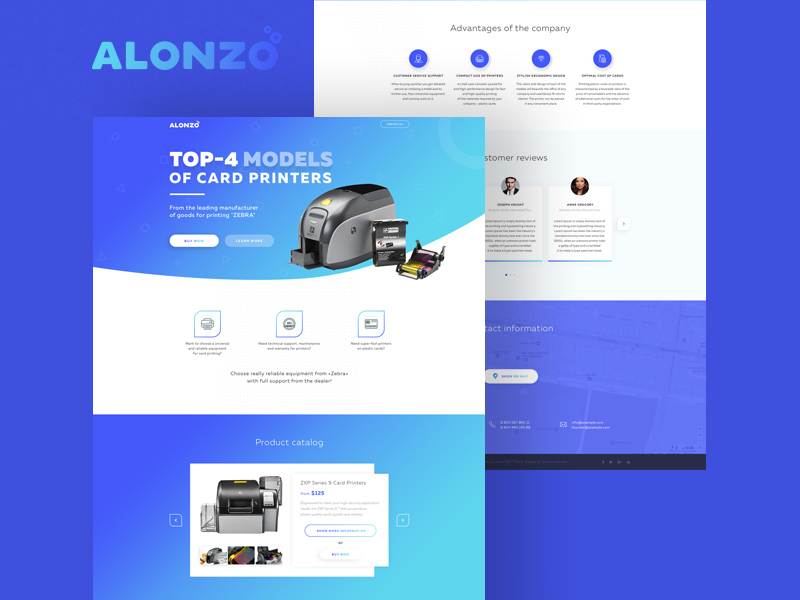 alonzo landing page template freebie download photoshop resource