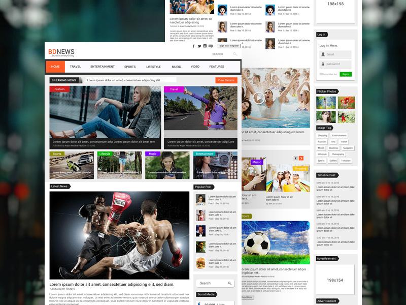 Bdnews Newspaper Website Template Freebie Download Photoshop