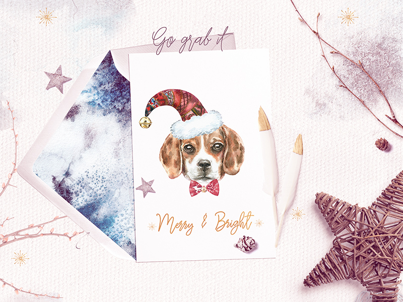 Dog Christmas Card Freebie - Download Photoshop Resource - PSD Repo