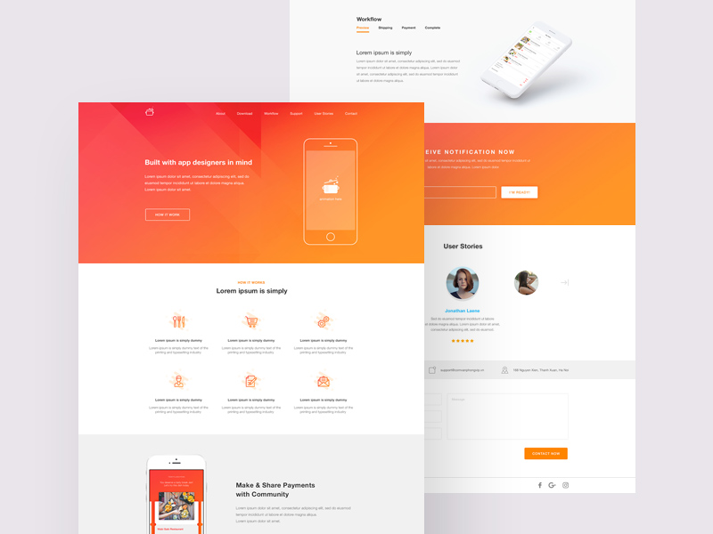 Cook - Landing Page Template Freebie - Download Photoshop Resource ...