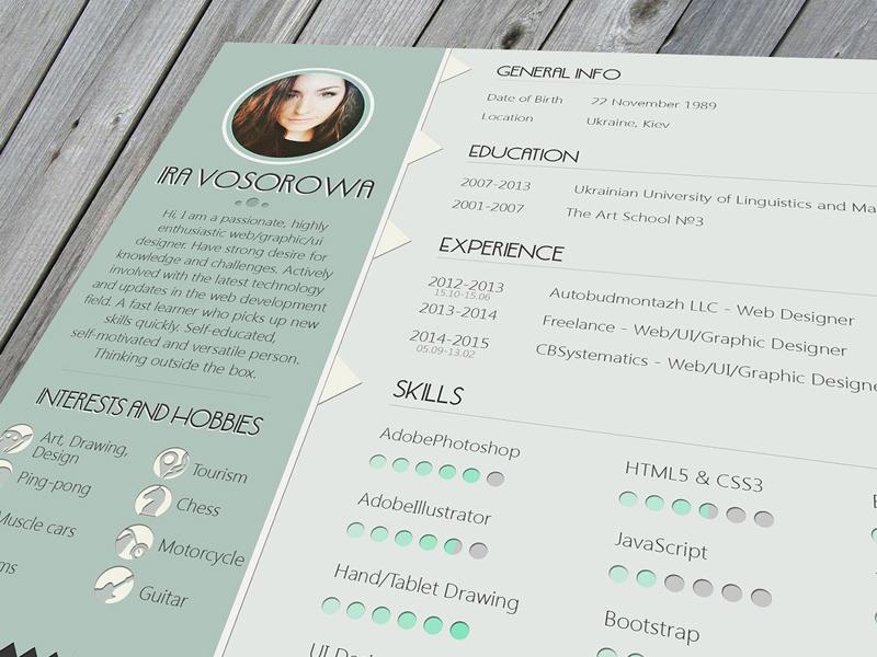 mint resume template freebie