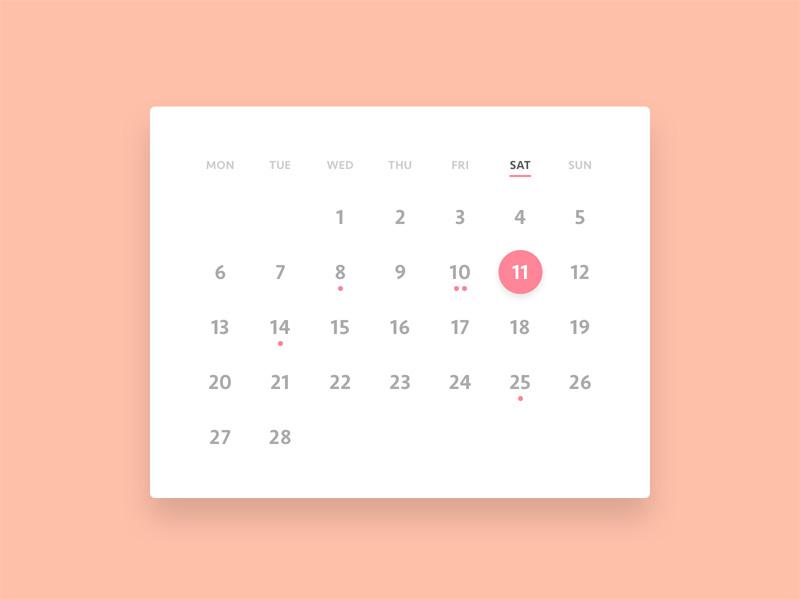 Calendar Ui Design Psd : Minimalistic calendar ui freebie download photoshop