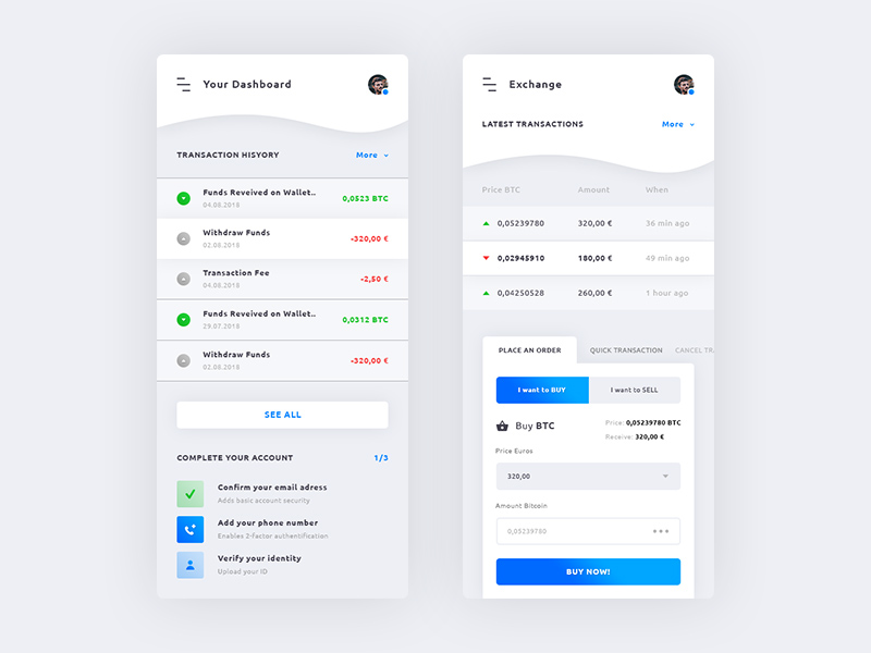 Free Dashboard & Cryptocurrency Exchange iOS App download