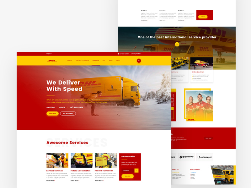 Dhl homepage redesign concept template freebie download photoshop dhl homepage redesign concept template maxwellsz