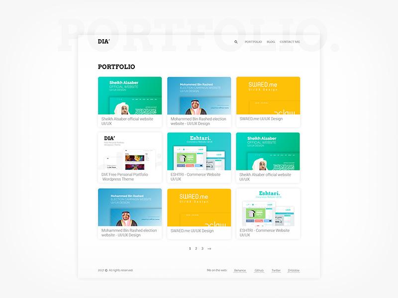 Free Personal And Portfolio Wordpress Theme Dia Free Psd