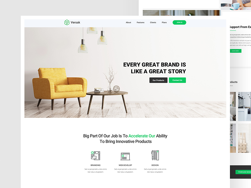 Versak Landing Page Template Freebie Download Photoshop Resource - About page template