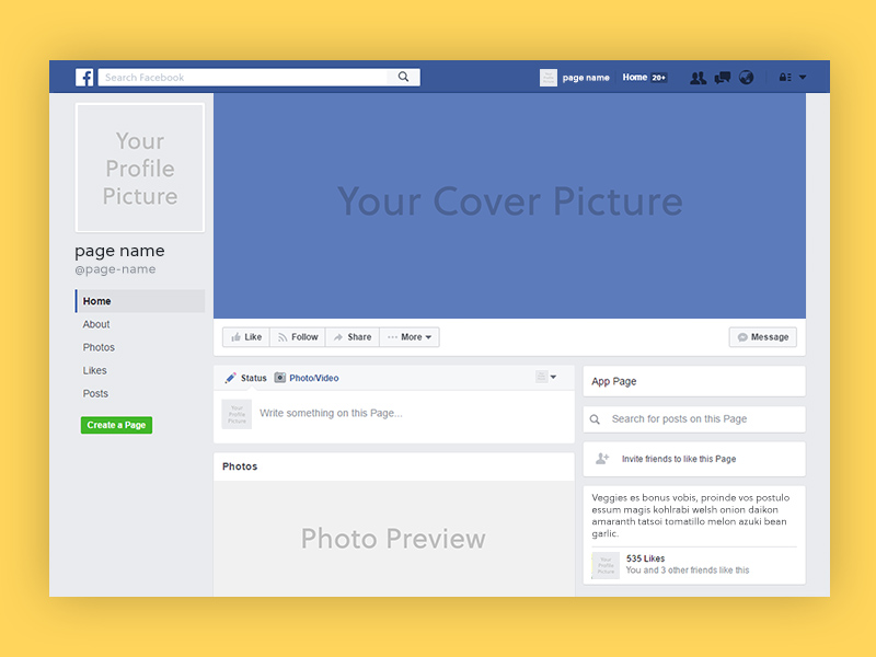 Facebook Page Mockup Freebie - Download Photoshop Resource - PSD Repo