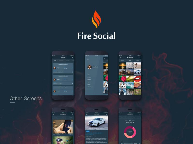 Fire social app mobile ui kit freebie download photoshop resource fire social app mobile ui kit maxwellsz