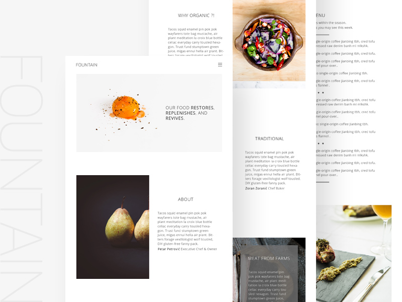 Free Fountain Food Website Template download