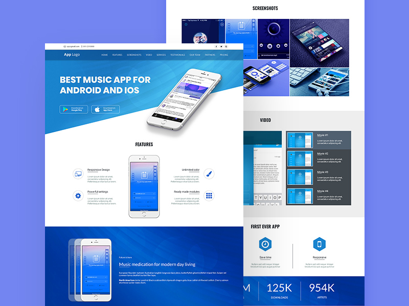 App Landing Page Design Template Free Psd Template Psd Repo