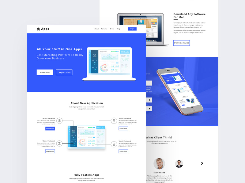 App Website Landing Page Template Freebie Download Photoshop - Website landing page templates