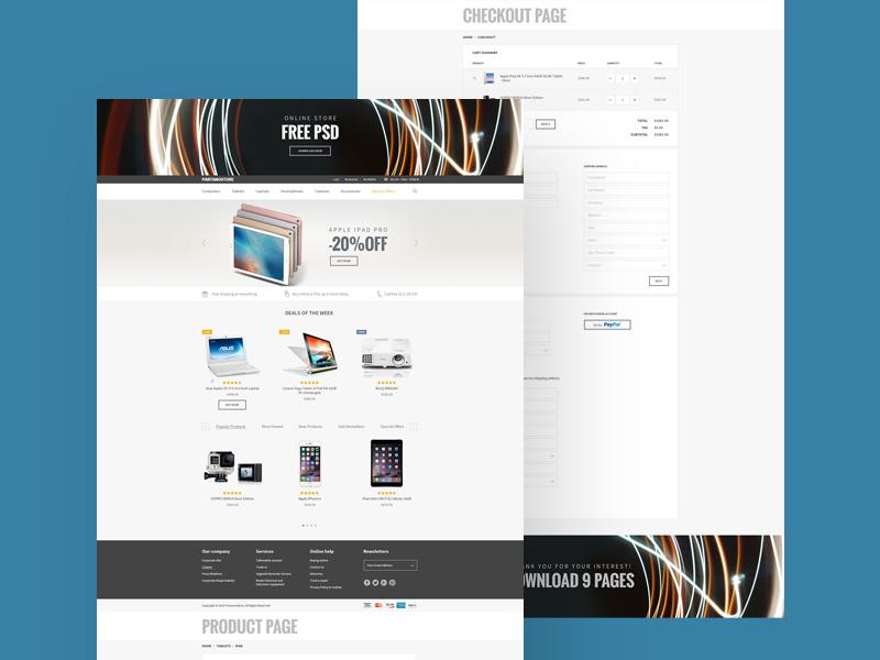 Online Store Website Template Freebie - Download Photoshop Resource ...