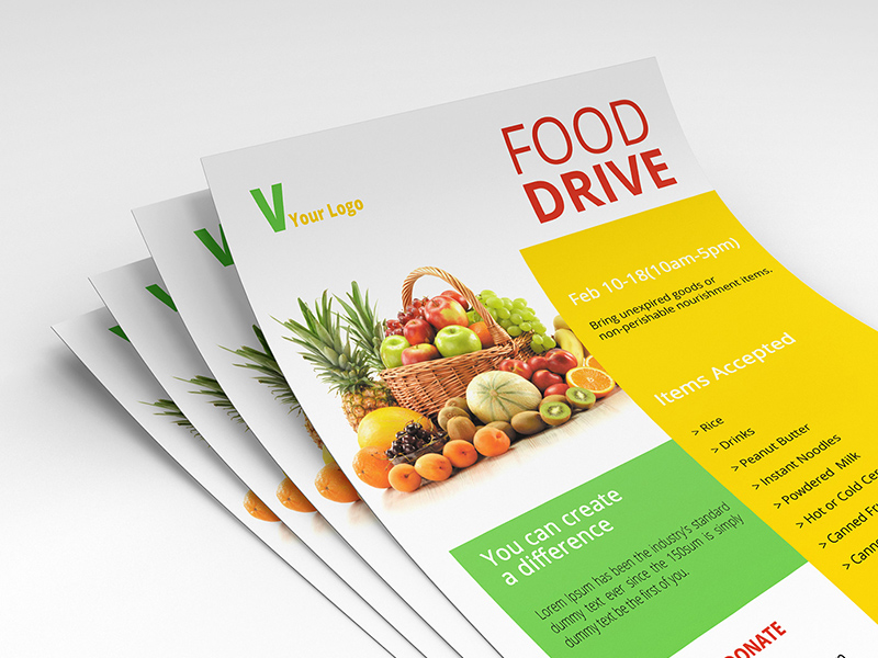 Food Drive Psd Flyer Template Freebie Download Photoshop Resource