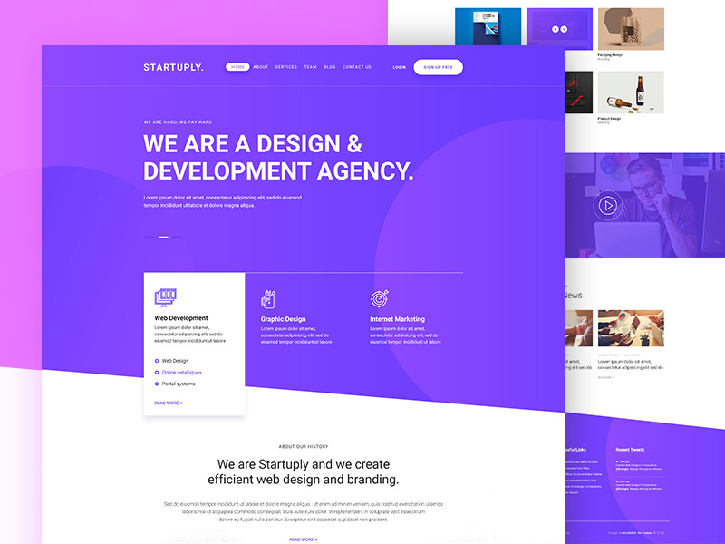 Startuply Agency Landing Page Template Freebie - Download Photoshop ...