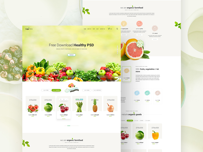 Healthy Food Website Template Free Psd Template Psd Repo