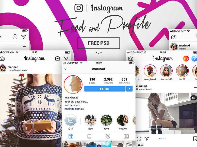 Instagram Complete Feed Profile Mockups Templates Free Psd