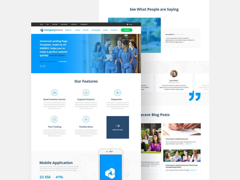 Free Startup Website Landing Page Template download