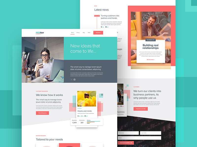 Mobile App Website Template Made With Adobe Xd Free Xd Templates