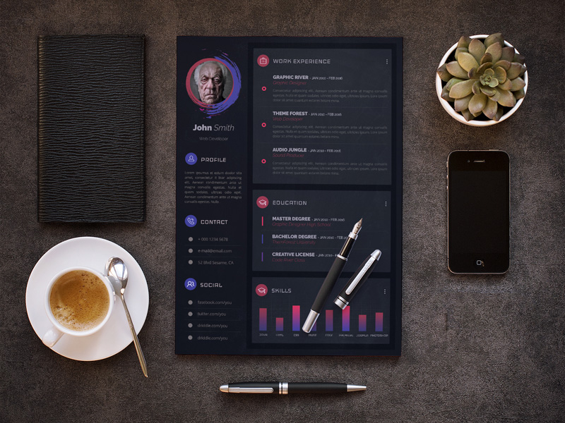 modern resume cv template freebie
