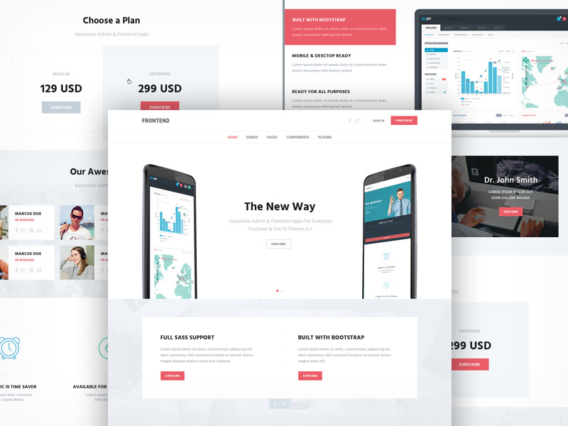 Multipurpose One Page Template Freebie - Download Photoshop Resource ...