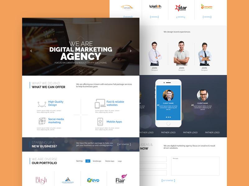 Web Agency Website Template Free Psd Template Psd Repo