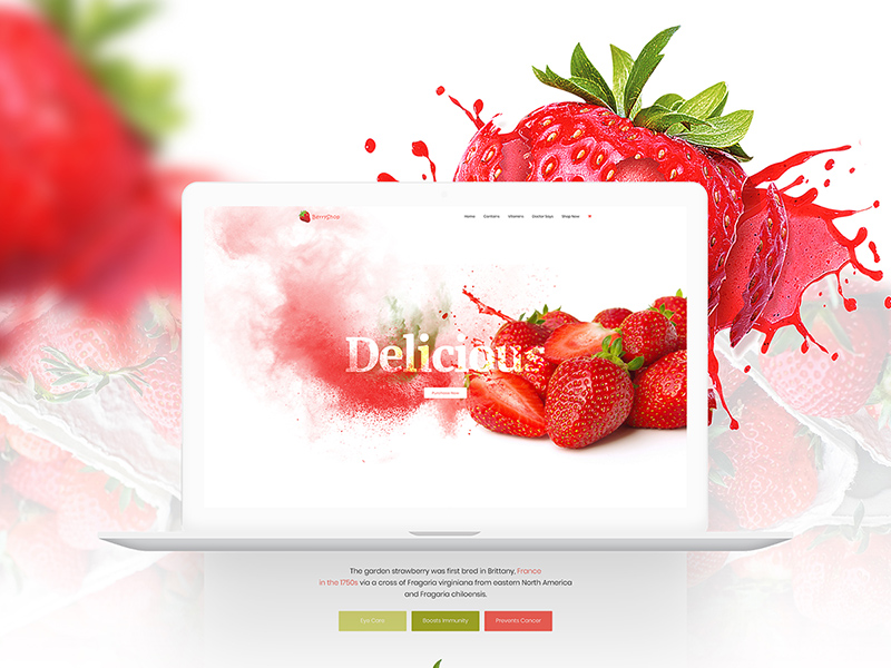 Product Landing Template - Strawberry Freebie - Download Photoshop ...