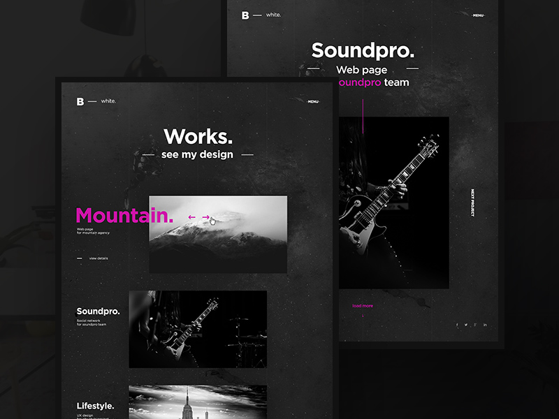 black white creative portfolio template free psd template psd repo