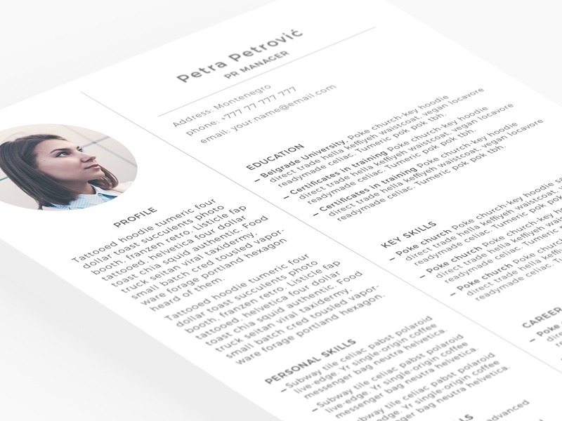 minimal resume template freebie