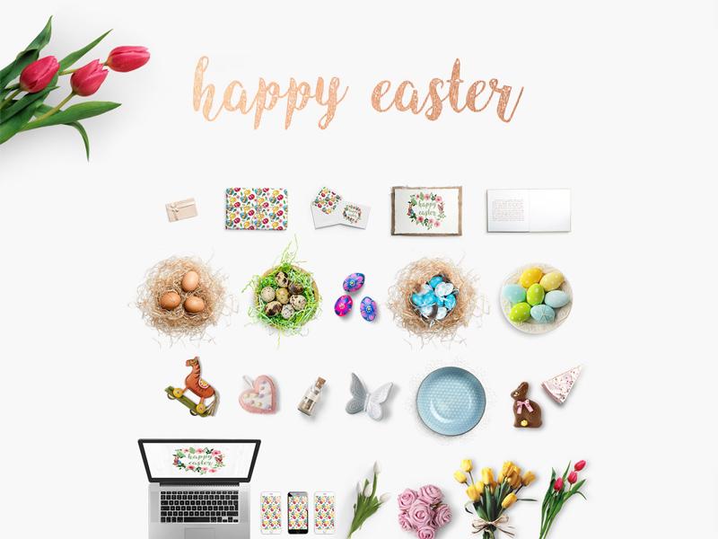 Free Happy Easter Mockup Scene Creator download