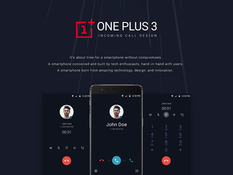 Free ONEPlus 3 Incoming Call UI Design download