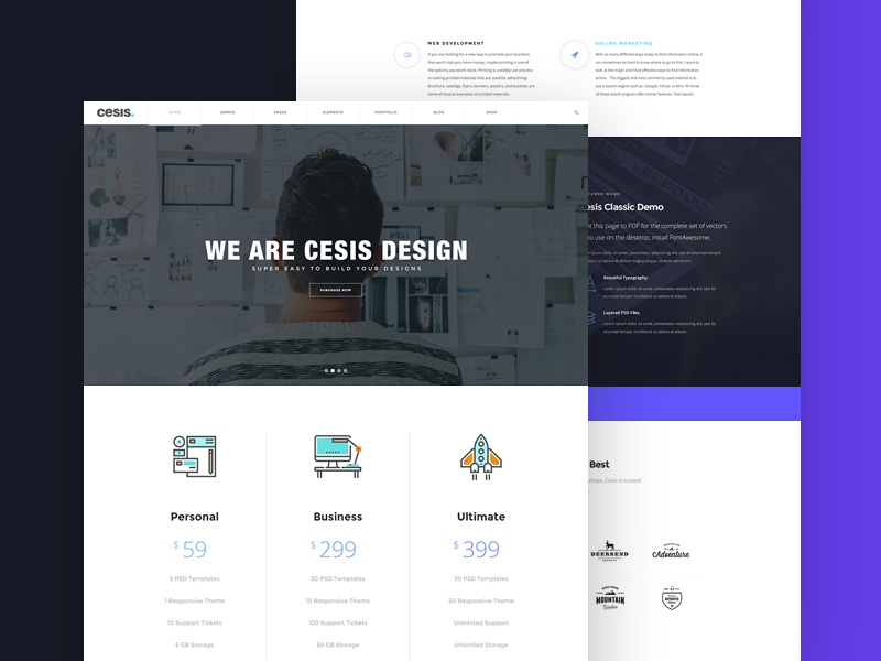 Cesis Design Agency Template Freebie - Download Photoshop Resource ...
