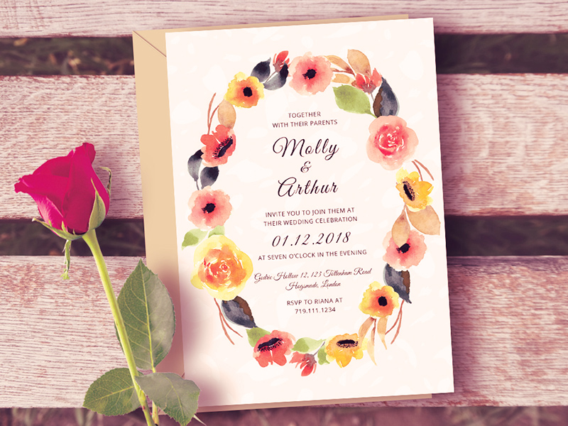Watercolor Floral Wedding Invitation Template Free PSD Template