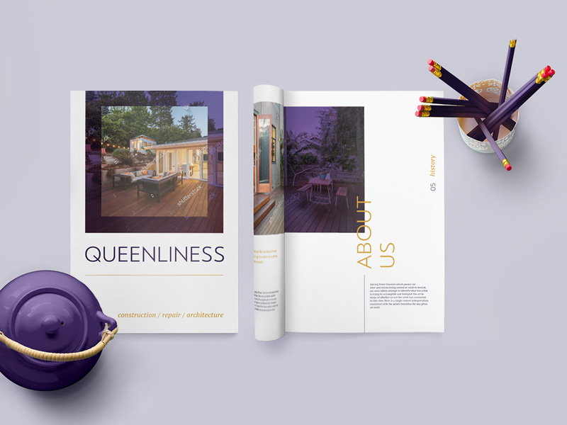 Queenliness Real Estate Brochure Template Freebie Download - Brochure template psd