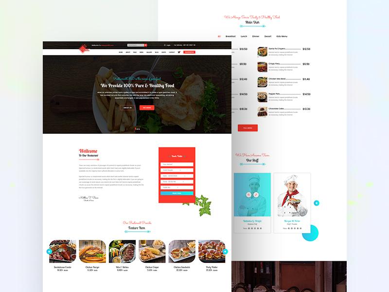 free restaurant website template freebie download photoshop
