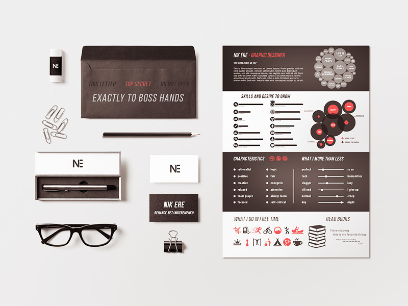 Stationary Resume Template Freebie Download Photoshop Resource