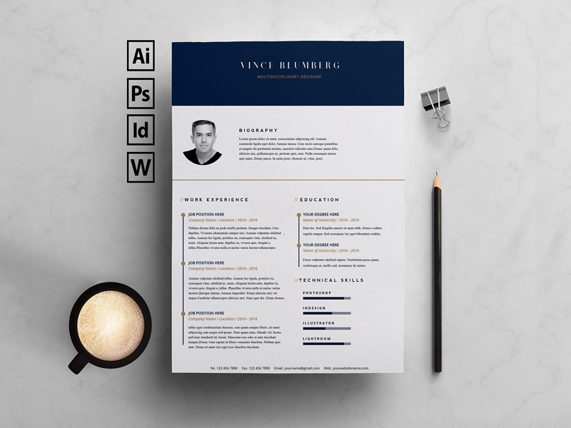 Resume Template Cover Letter Freebie Download Photoshop Resource