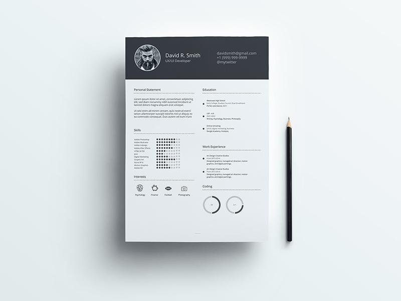 Free Resume Template Cv Free Psd Template Psd Repo