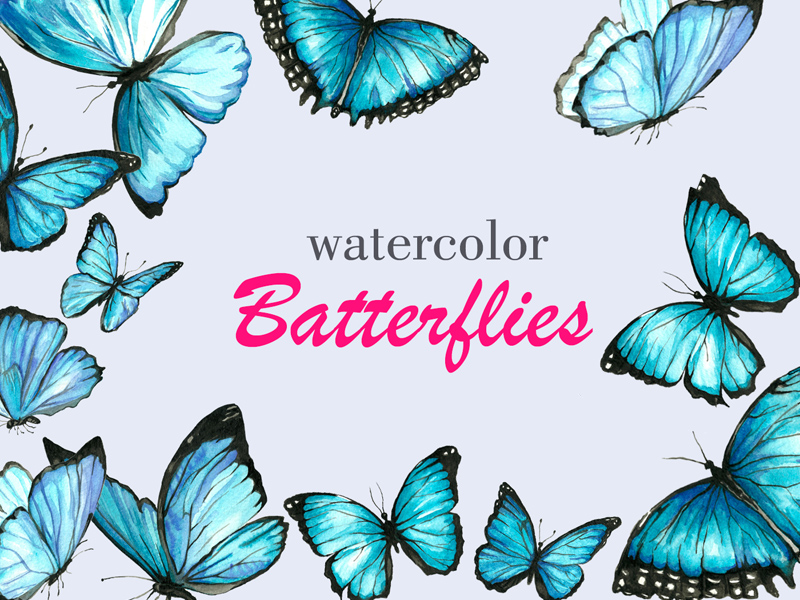 Free Watercolor Butterfly Collection download