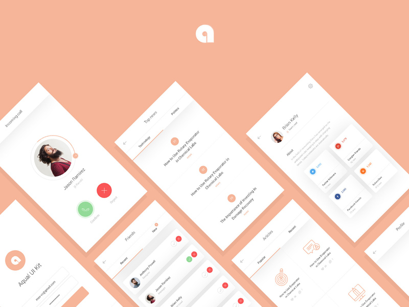 Free Aqual Mobile UI Kit for Social Networking Apps download