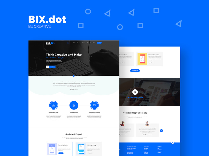 Bixdot Home Page Template Freebie Download Photoshop Resource - Web home page template